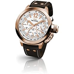 TW Steel Unisex Quartz Watch with White Dial Chronograph Display and Brown Leather Strap CE1019
