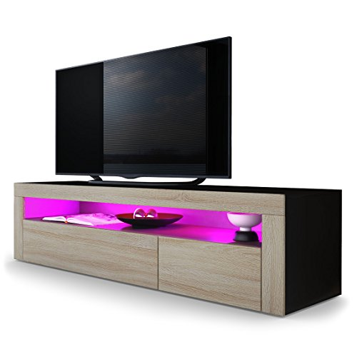 TV Board Lowboard Valencia, Korpus in Schwarz matt / Front in Eiche sägerau mit Rahmen in Eiche sägerau