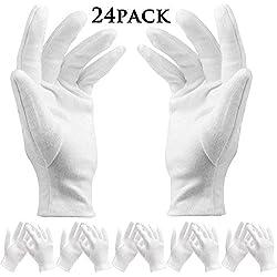 Bestzy 12Paires de Gants de Coton Blanc Fin et léger Doux Coton élastique de Protection travaillant Gant Blanc pièce de Monnaie Bijoux Argent Gants d'inspection, Taille Moyenne