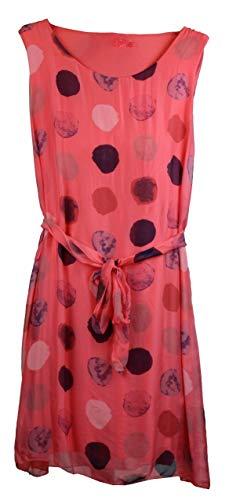 BZNA - Vestido de verano de coral rosa, vestido de seda, para verano, otoño, vestido de seda, vestido de lunares elegante