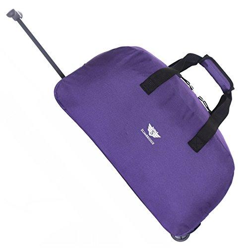 Slimbridge Handgepäck Reisetasche Rollenreisetasche Leichtgewicht Trolley Gepäcktasche mit Rollen - 40 Liter 55 cm 900 Gramm Faltbare auf 2 Rädern und Trolleyfunktion Teleskopgriff, Castletown Violett
