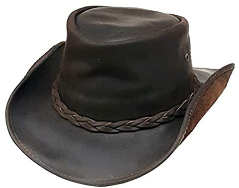 Modestone Weathered & Rough Oiled Leather Short Brim Casual Chapeaux Cowboy Brown