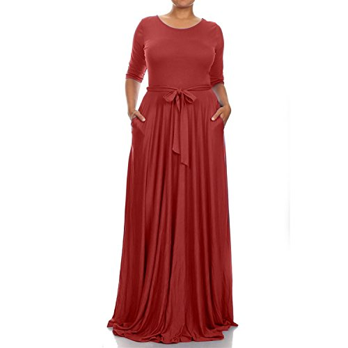 nuo-womens-round-neck-long-sleeves-plus-size-evening-party-maxi-dress-gownredxl