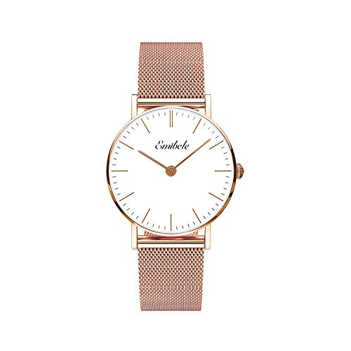 111fd0786fef7c Emibele Women Stainless Steel Quartz Watch, Fashion 50M Water Resistant  Wristwatch with 18mm Width Metal