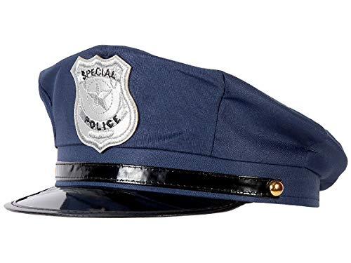 Alsino Polizeimütze verstellbar Fasching Polizeihut Karneval blau (176) für Erwachsene Blaue Cop Polizei ()