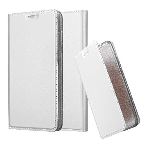 Cadorabo Hülle für Lenovo P2 - Hülle in Silber – Handyhülle mit Standfunktion und Kartenfach im Metallic Look - Case Cover Schutzhülle Etui Tasche Book Klapp Style