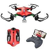 FPV Drone con Telecamera/Videocamera HD 720P WiFi Trasmissione G-sensore modalità Senza Testa Sistema di Allarme Mini Drone Pieghevole per Principianti e Adulti, Facile da Controllare(Rosso)