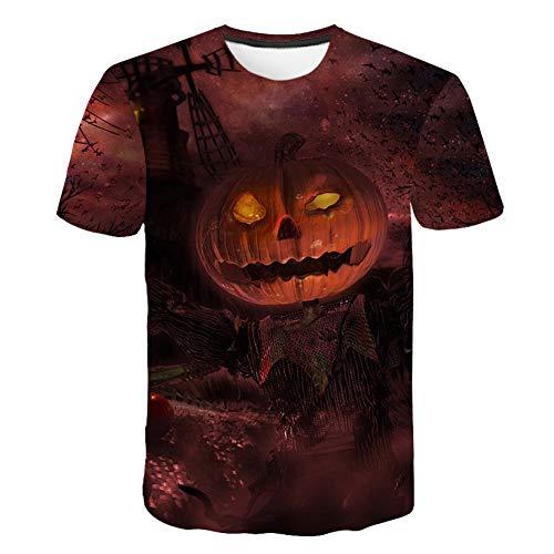 DHAJIFL Neue Sommer Schädel T Shirt Männer Halloween Kürbis T-Shirt Gedruckt Hexe 3D T-Shirt Lustige T Shirts Party Harajuku Herren Kleidung (Halloween Schädel 2 Kürbis-t-shirt)