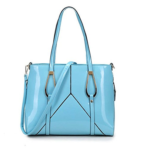 LeahWard® Essener Patent Große Größe Schulter Tragetaschen Damen Handtaschen mit Gurt Damen Mode Qualität Kunstleder Handtasche CWKP9311A CWKP9258 CWKP9311A-blau