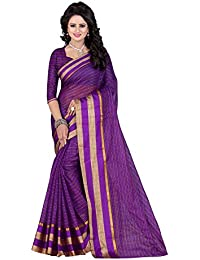 PerfectBlue Cotton Saree with Blouse Piece