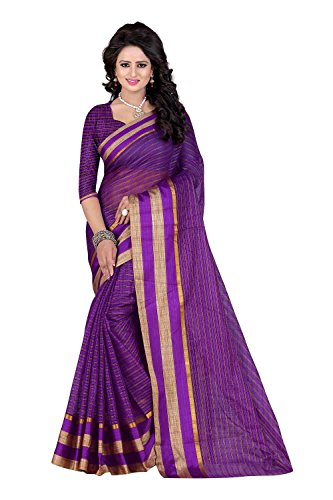 PerfectBlue Cotton Saree with Blouse Piece (I-00072_Purple_Free Size)