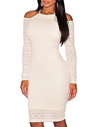 a8b03a84bd43 ABILIO - vestito donna aderente maniche lunghe abito festa vestitino pizzo  elasticizzato
