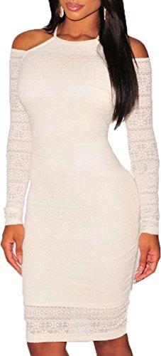 ABILIO - vestito donna aderente maniche lunghe abito festa vestitino pizzo elasticizzato Bianco