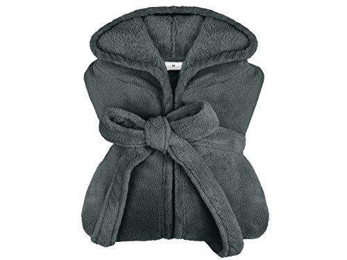 extra weicher Kapuzen-Bademantel aus Kuschelfleece - erhältlich in 11 modernen Farben und 5 Größen - unisex & wadenlang, L, dunkelgrau