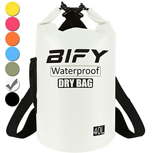Dry Bag BIFY 5L/10L/15L/20L/25L/30L/40L Leicht Wasserfester Rucksack/Wasserdichte Tasche/Trockensack mit lang Verstellbarer Schultergurt für Boot und Kajak Wassersport Treiben (Weiß, 40L) -