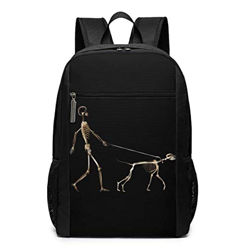 TRFashion Rucksack A Humor Skeleton Skull Walking His Dog Unisex Laptop BackpackBusiness Travel Computer Bag Backpack Classic Lightweight Resistant Backpack 17 Inch Schoolbag Book Bag for Men Women B
