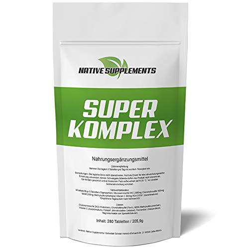 Glucosamin Komplex Tabletten (280 Tabletten Super Komplex, 3000mg Hochdosiert/Glucosamin Chondroitin MSM Vitamin C Kombination)