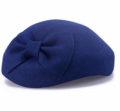 Chapeau Femme Automne et Hiver Angleterre Petit Chapeau Mode Bow Sub Cap Noir Rétro Bérets ( couleur : 1# ) # 2