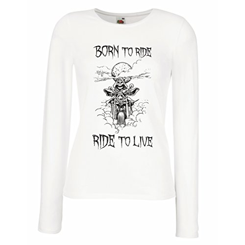 Maniche Lunghe Femminili T-Shirt Born To Ride! Motorcycle Clothing (XX-Large Bianco Multicolore)