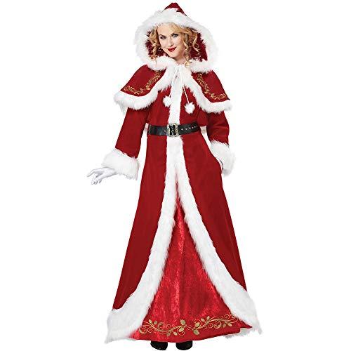 JYY Damen Weihnachtskostüm mit Kapuze Mrs Claus Luxuriöser Erwachsener Langer Anzug für Party Cosplay Kostüm mit Gürtel,Red-L -