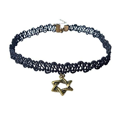 e Davidstern Anhänger mit Aushöhlen Schwarz Farbe Spitze Kette Mode Hexagramm Glückskette David-Stern Halskette für Männer und Frauen Israel Judentum Jüdischen Halsschmuck (Jüdische Hüte Für Männer)