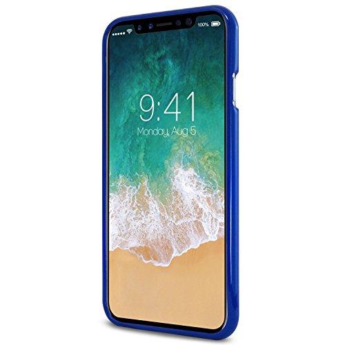 iPhone X Hülle ,GOOSfürY® [Thin Slim] GOOSfürY [Flexible] Pearl Glitter Jelly [fürfect Fit] Rubber TPU Case [Lightweight] Bumfür Cover [Impact Resistant] für Apple iPhone X Blu