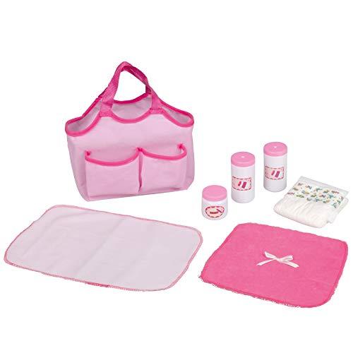 #1018 Wickeltasche für Puppen mit Windel, Puderdose und weitere Zubehör • Baby Pflege Windel Puppe Kinder Tasche Spielzeug Set
