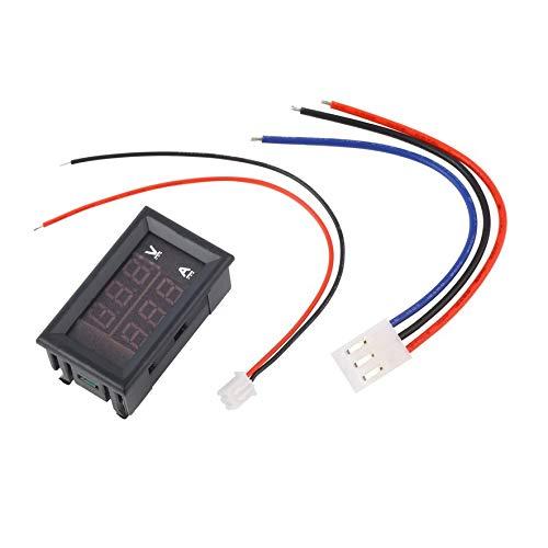 LmqhGzuqume DC 100 V 10A Voltmeter Amperemeter Blau + Rot LED Amp Dual Digital Voltmeter Gauge (Schwarz) -