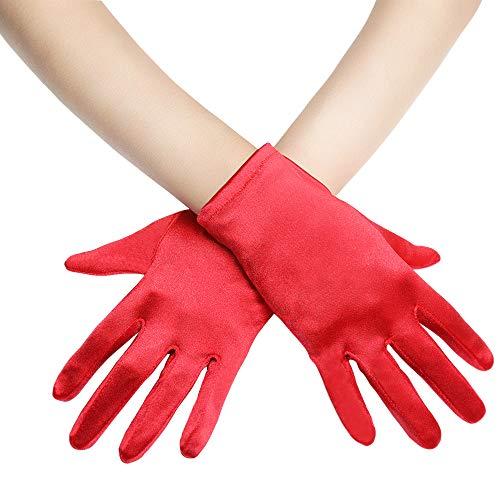 Coucoland Damen Handschuhe Satin Classic Opera Fest Party Audrey Hepburn Handschuhe 1920s Handschuhe Damen Lang Kurz Elastisch (Rot/22cm)