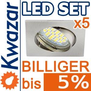 5er Set K-4 Einbaustrahler 24p Smd Led Warmweiss Inkl Gu10 230v Fassung - Nickel Matt Innox von Kwazar