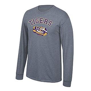 Elite Fan Shop NCAA LSU Tigers Men's Charcoal Vintage Long Sleeve T-Shirt, Dark Heather, Medium