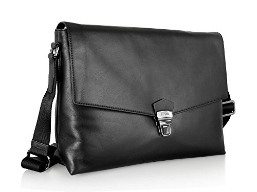 Hugo Boss Leder Messenger Across, schwarz