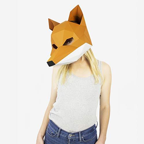 Maske Fuchs | Masken der Tiere | Masken Basteln | Maske Herren, Damen, Kinder | Maske für Halloween, Fasching, Karneval, Party Kostüm, (Diy Herren Halloween Kostüm)