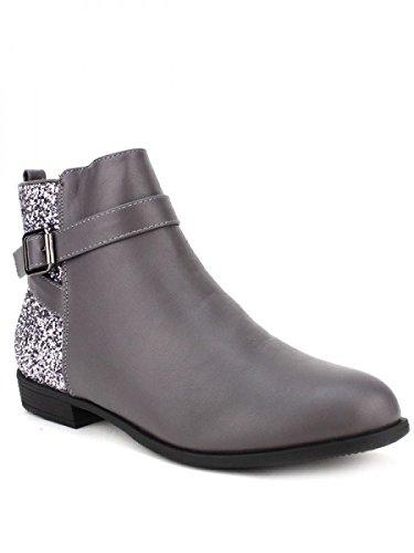 Cendriyon, Bottine grise Bi matière MELL Chaussures Femme Gris