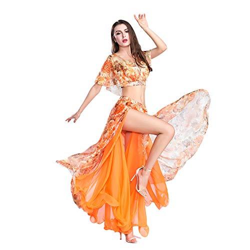 ROYAL SMEELA Bauchtanz Top Rock Sexy Tanzanzug Performance-Kleider Blumen Chiffon Tanzen Tops Röcke Kostüm Outfit Set für Frauen (Tanzen Kostüm Frauen)