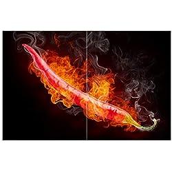 Wallario Herdabdeckplatte/Spritzschutz aus Glas, 2-teilig, 80x52cm, für Ceran- und Induktionsherde, Motiv Heiße, brennende Chili-Schote vor Schwarzem Hintergrund
