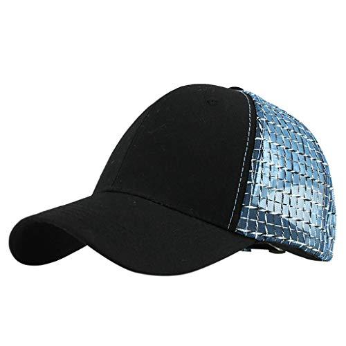 Wildleder Newsboy Cap Hat (IYHENZ Unisex Baseballcap Hut Baumwolle Gute Qualität Gestickt Mesh Baseballmützen Einstellbar Modische Baseball Mützen Sonnenhut Outdoor Hut Hip Hop Flachen Hut(Blau,1PC))