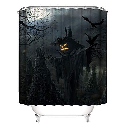 Knbob Duschvorhang Antischimmel Waschbar Halloween-Kürbis-Vogelscheuche Mehrfarbig Inkl. Ringe 150X180Cm