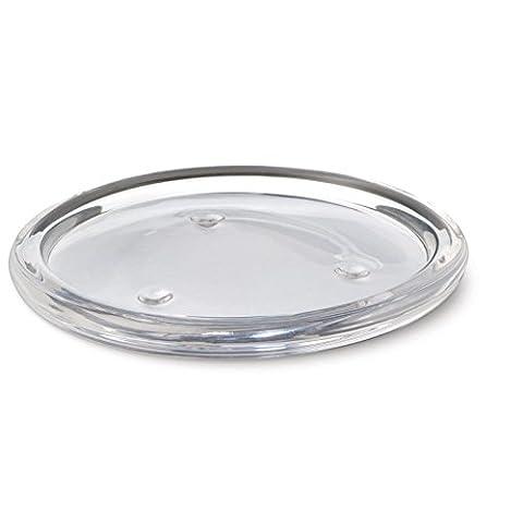 leadway Assiette en verre transparent pour bougie pilier rond pour mariage, Lot de 5