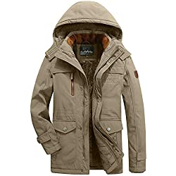 DDUPNMONE Men's Winter Medium Length Hoodie Thickened Plus Size Cotton Padded Jacket Coat