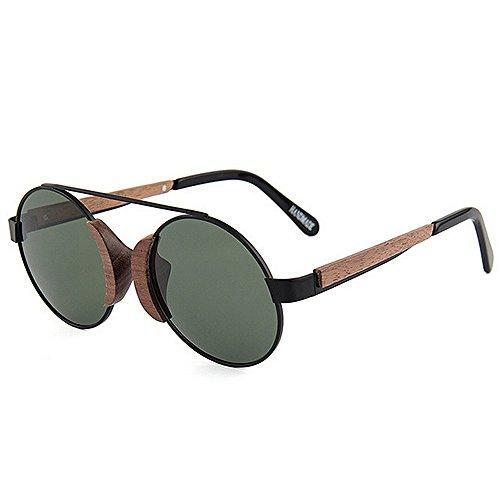 Yiph-Sunglass Sonnenbrillen Mode Herren Sonnenbrillen Retro Holz Polarisiert für Männer Metallrahmen Sonnenbrille Runde Klassische UV Schutz Fahren Angeln Strand Sonnenbrillen (Farbe : Grün)