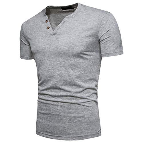 Kurzarm Slim Fit Casual T-Shirt geknöpft, Adamoka modische T-Shirts Bluse Shirt Tops, Sommer Shirt Kurzarm T-Shirt Pullover Sportshirt