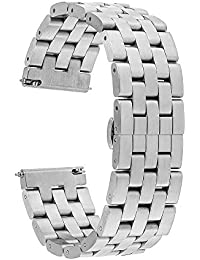 TRUMiRR 22 mm de acero inoxidable reloj de la banda de liberación rápida de la correa de todos los enlaces desmontable para Samsung Gear S3 Classic/Frontier, Gear 2 R380 R381 R382, Moto 2 360 46mm, Guijarro Tiempo / Acero, Asus ZenWatch 1 2 Los hombres, LG G Reloj urbano W150