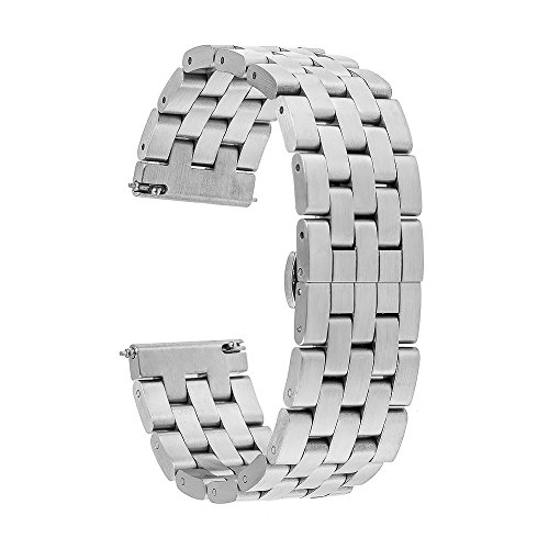 TRUMiRR Kompatibel mit Samsung Gear S3 Frontier/Classic Armband, 22mm Edelstahl Uhrenarmband Quick Release Armband für Samsung Gear S3 Classic Frontier, Moto 360 2 46mm Männer,LG G Watch, Amazfit