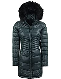 66c11c3c51 Threadbare Womens Parka Padded Quilted Lined Jacket Faux Fur Hood Coat 8-16