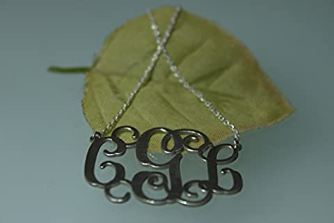 Monogram Necklace 925k Sterling Silver Handmade Personalised 3.81cm - 1.50'', 1.1mm thickness