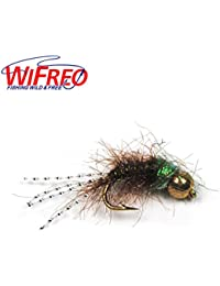 [6 PCS] #12 New Brass Bead Head Nymph Buggy Body Flash Tail Trout Fishing Fly Bait Lures Green Olive