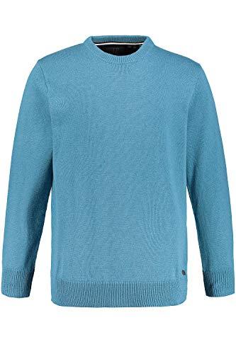 JP 1880 Herren große Größen bis 7XL, Pullover, Sweatshirt aus Strick, Rundhalsausschnitt, JP1880-Stick, Reine Baumwolle, dunkelaqua-Melange 4XL 708261 74-4XL