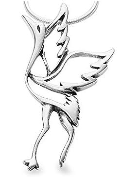 925 Silber Storch Wasservogel Anhänger ,Kettenanhänger für Tierfreunde #1757
