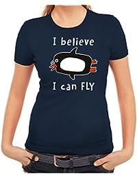Lustiges Damen T-Shirt mit I Believe I Can Fly Motiv Premium